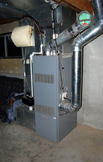 A residential oil furnace - forced hot air with central air conditioning and an in-line humidifier as well.