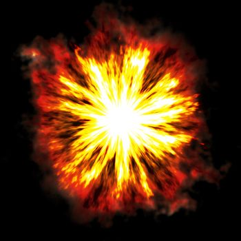 A fiery explosion busting over a black background.