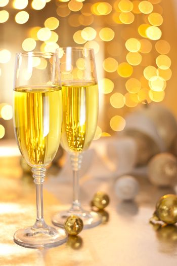 Glasses of Champagne on Christmas Eve