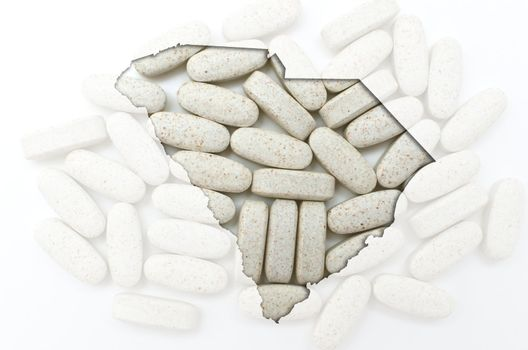 Outlined south carolina with transparent background of capsules
