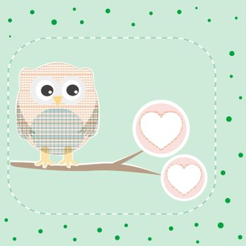 cute love owl on the branch birthday vector card