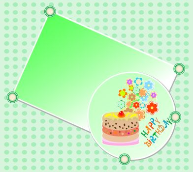 vector kids happy birthday party cake and beautiful flowers