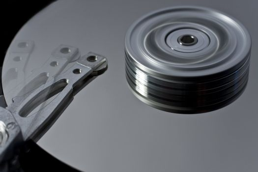 hard disk drive with read write head in motion