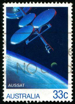 AUSTRALIA - CIRCA 1985: stamp printed by Australia, shows communications satellites, circa 1985