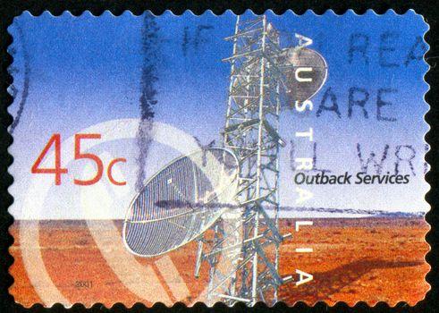 AUSTRALIA - CIRCA 2001: stamp printed by Australia, shows Outback Services, Telecommunications, circa 2001