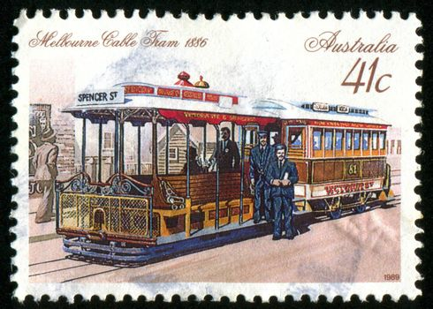 AUSTRALIA - CIRCA 1989: stamp printed by Australia, shows tram and people, circa 1989