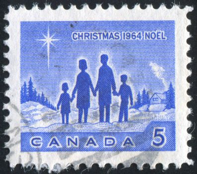 CANADA - CIRCA 1964: stamp printed by Canada, shows Family and Star of Bethlehem, circa 1964