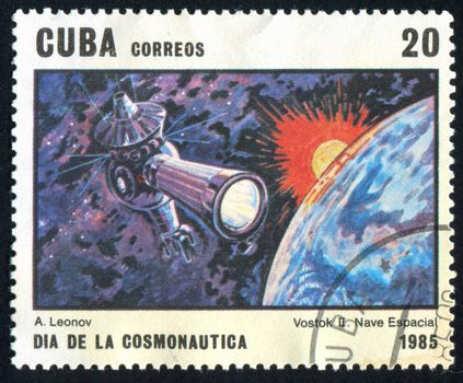 CUBA - CIRCA 1985: stamp printed by Cuba, shows space satellite, circa 1985