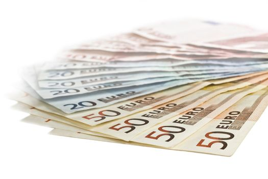 euro bills in close up shot