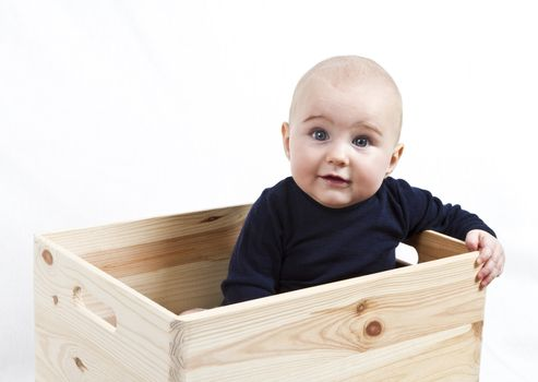 single toddler in wooden box looking to the camera