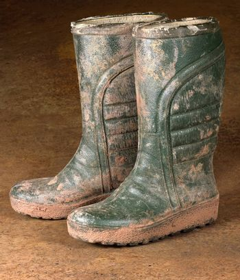 green dirty rubber boots on rusty background