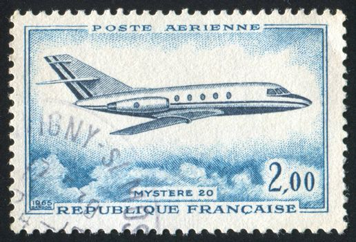 FRANCE - CIRCA 1965: stamp printed by France, shows aeroplane, circa 1965