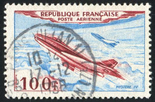 FRANCE - CIRCA 1949: stamp printed by France, shows Jet Plane, circa 1949