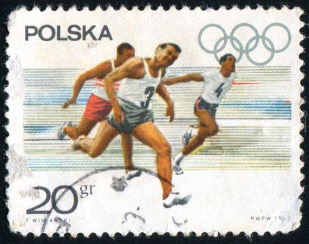 POLAND - CIRCA 1967: stamp printed by Poland, shows Start of men�s short distance race, circa 1967.