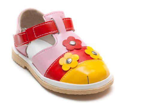 Varicoloured leather baby sandal