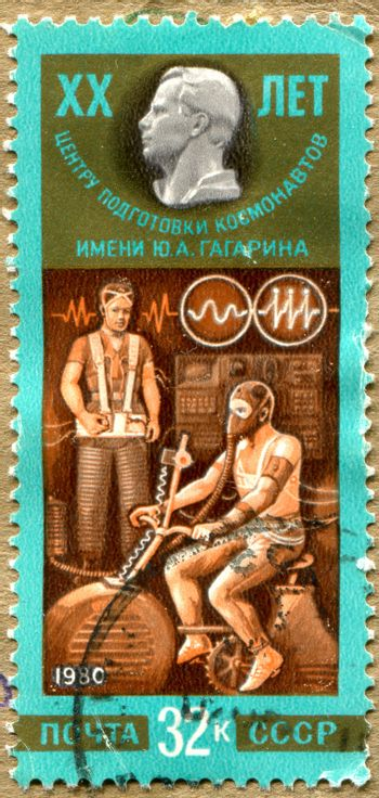 RUSSIA - CIRCA 1980: stamp printed by Russia, shows Astronaut training, circa 1980.
