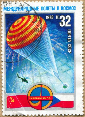 RUSSIA - CIRCA 1978: stamp printed by Russia, shows parachute, helicopter, circa 1978.