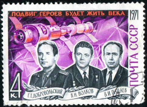 RUSSIA - CIRCA 1971: stamp printed by Russia, shows Cosmonauts Dobrovolsky, Volkov and Patsayev, circa 1971.