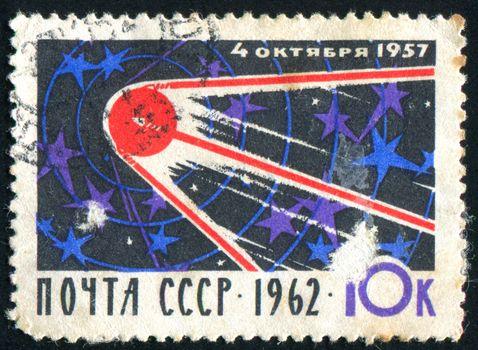 RUSSIA - CIRCA 1962: stamp printed by Russia, shows satellite, circa 1962.