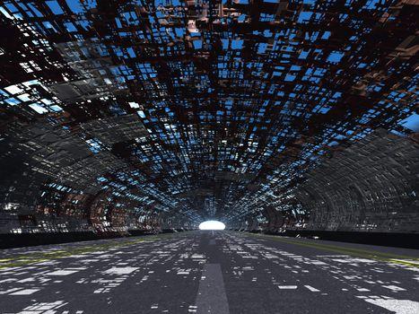 Tunnel and asphalt destroyed