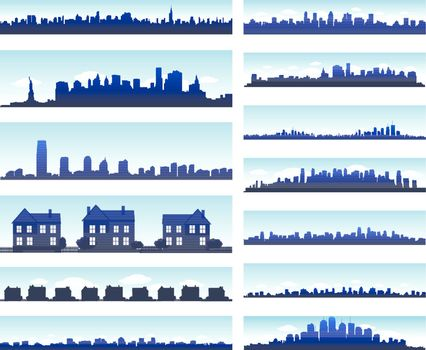 City skylines silhouettes