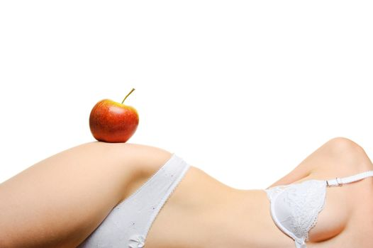Female shapely a body and a red apple