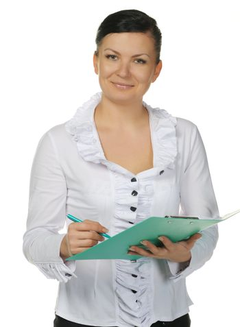 The woman with official papers