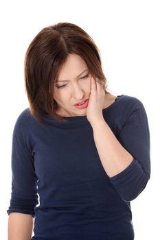Woman having terrible tooth ache