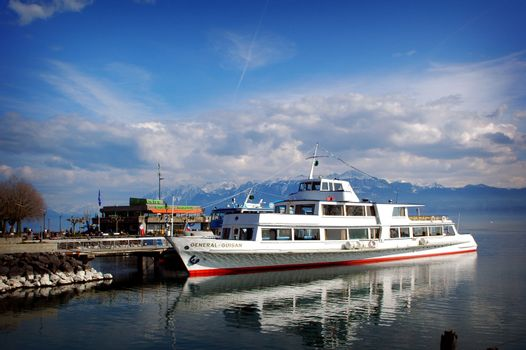 The General Guisan tour boat at dock on Lake Geneva