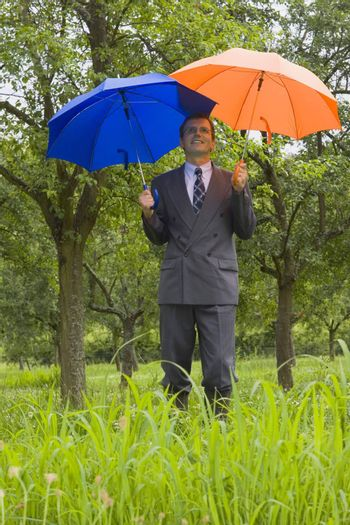 Businessman with blue and orange umbrellas in a meadow