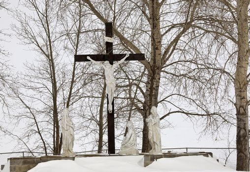 Christ on the Cross in winter
