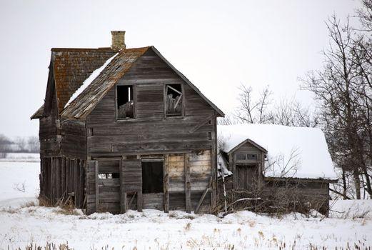 Abandoned pioneer fram house in Manitoba