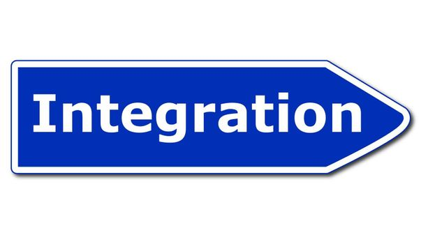 multi culti integration concept with road sign isolated on white background