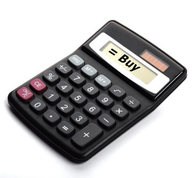 buy on calculator showing stock market or financial investment concept