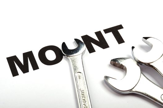 mount or mounting concept with tool and word