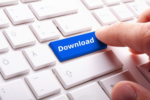 download key on keyboard showing internet concept