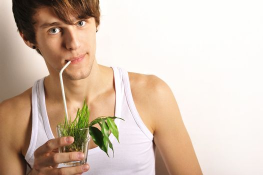man and healthy food concept