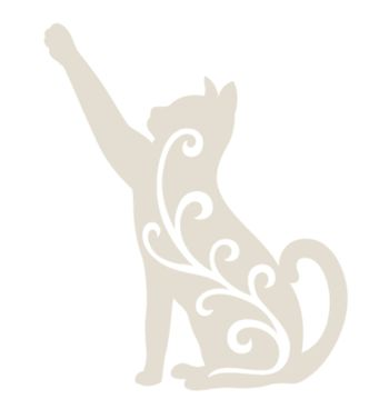 Cat silhouette with one leg up illustrated with organic shape on the body.