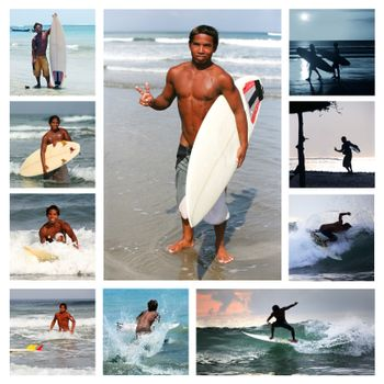 Collage from 10 photos surfer . Bali