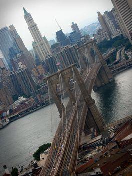 A shot of the Brooklyn Bridge in NYC.