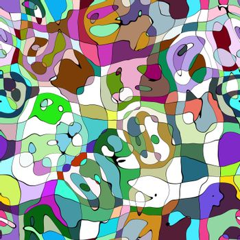 An abstract rainbow background that looks similar to the style of painter Pablo Picasso.