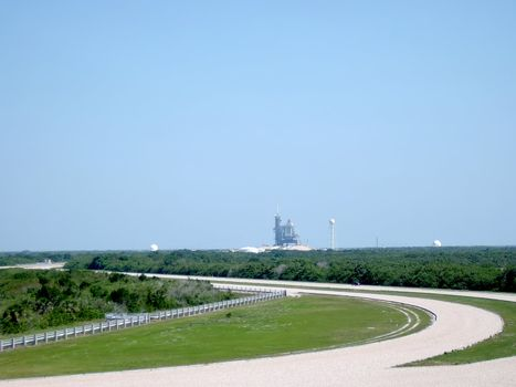 A photograph of a rocket launchpad at Kennedy Space Center which is located in the state of Florida, USA.