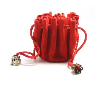 red jewelry bag isolated on white background