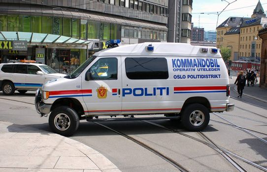 Policecar blocking street in Oslo