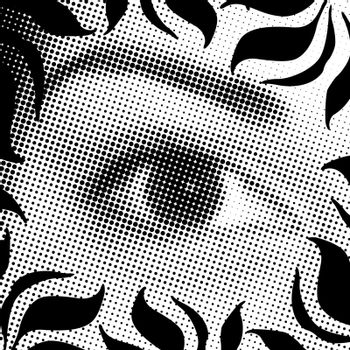 a halftone eye illustration with a floral border- all in black and white