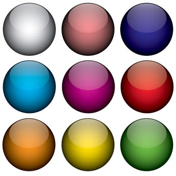 An arrangement of colorful orbs / circles that look just like buttons, planets, or even jelly beans.