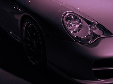 detail of a really expensive silver sports car