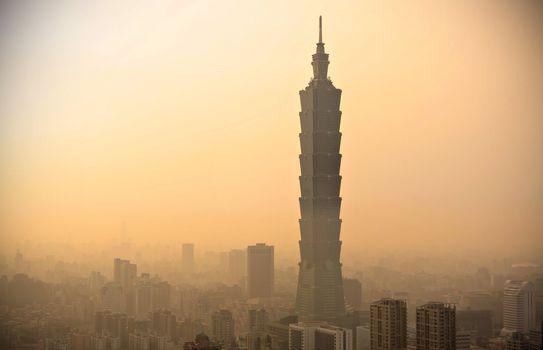 Taipei with heavy smog at sunset