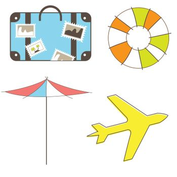 Holidays and travel clip-art set isolated on white