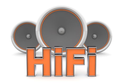 Three Speakers - HiFi in Orange